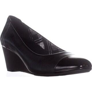 naturalizer Necile Wedge Dress Pumps, Black Leather - 10.5 us