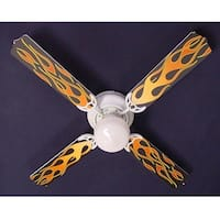 Cool Graphic Flames Print Blades 42in Ceiling Fan Light Kit - Multi