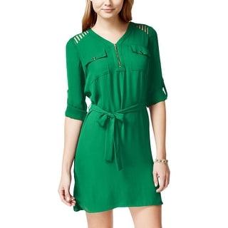 XOXO Womens Juniors Shirtdress Lattice Cut-Out 1/2 Zip