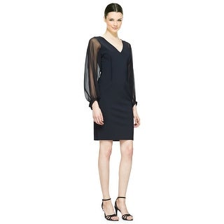 Teri Jon Sheer Long Sleeve Sheath Cocktail Evening Dress - 2