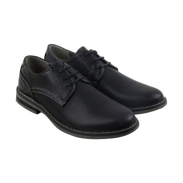 Steve Madden Olivyr Mens Black Leather Casual Dress Lace Up Oxfords Shoes