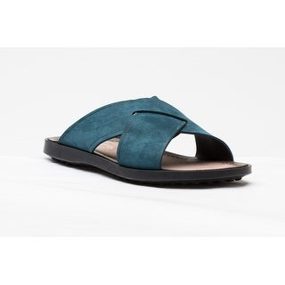 Tod's Men's Suede Ciabatta Sottopiede Cuoio Fondo Nu Sandal Shoes Dark Teal