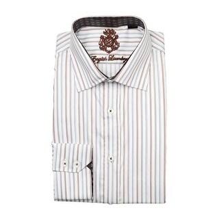 English Laundry Brown Striped Button Down Dress Shirt