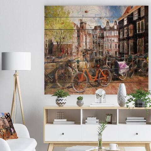 Designart 'Amsterdam City Artwork' Landscape Print on Natural Pine Wood - Green
