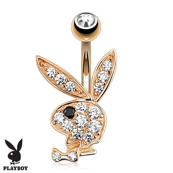 {Clear/Black} Paved CZ Playboy Bunny Rose Gold 316L Surgical Steel Navel Ring