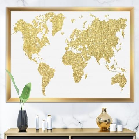 Designart 'Golden Map Of The Earth' Modern Framed Art Print