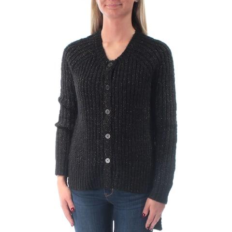 RACHEL ROY Womens Black Glitter Long Sleeve Jewel Neck Hi-Lo Sweater Size: XS