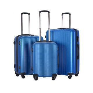 GLOBALWAY 3 Pcs Luggage Travel Set ABS Trolley Suitcase Spinner Hardshell Blue