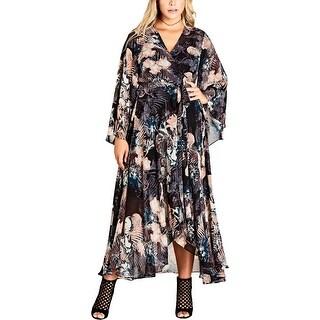 City Chic Womens Plus Wrap Dress Floral Print Full-Length - 22