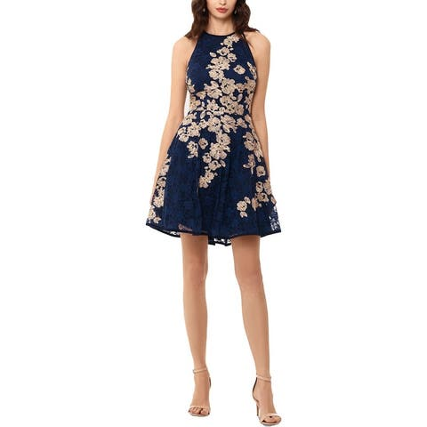 Xscape Womens Semi-Formal Dress Halter Embroidered - Navy/Gold