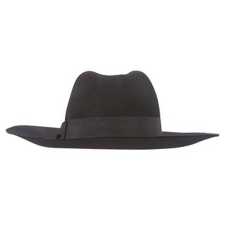 Wool Felt Fedora Hat with Gross Grain Ribbon Band - Black - One size
