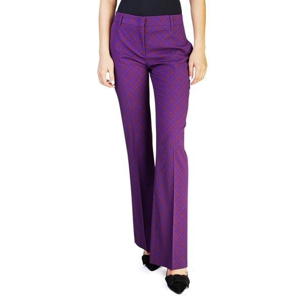Prada Women's Virgin Wool Plaid Print Slim Fit Pants Purple