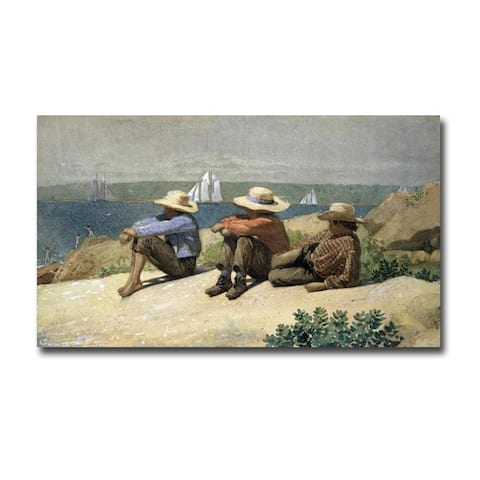 On the Beach by Winslow Homer Gallery Wrapped Canvas Giclee Art (20 in x 36 in)