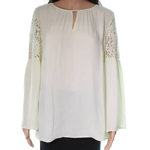 Chelsea28 Women's Blouse Top Green Size Medium M Keyhole Chiffon Lace