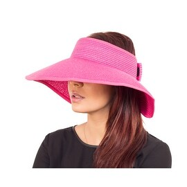 Fashion Wide Brim Visor Style Straw Summer Beach Hat Adjustable, Fuchsia