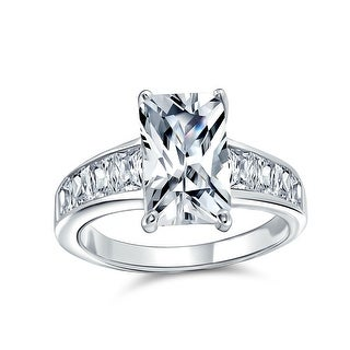 Link to 4CT Emerald Cut AAA CZ Solitaire Engagement Ring 925 Sterling Silver Similar Items in Rings