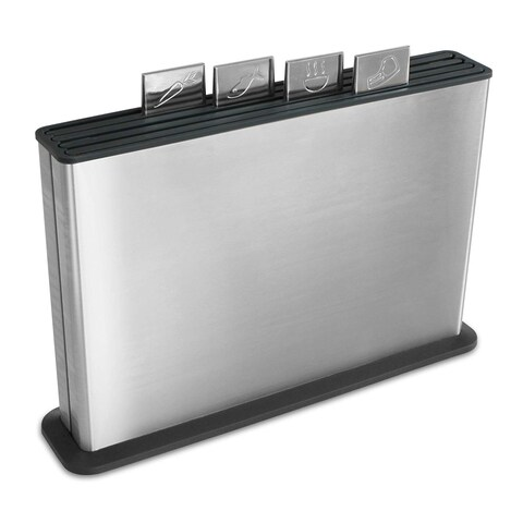 Joseph Joseph Index Plastic Cutting Board Set with Stainless Steel Storage Case, Large, Stainless Steel & Black
