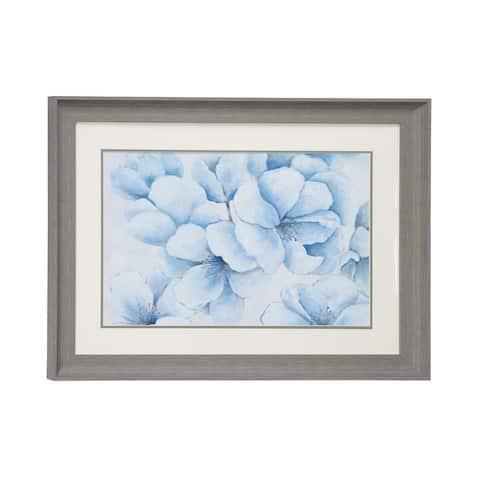 """23.5"""" x 17.5"""" Blue Flowers Print in Rectangular Gray Frame"""