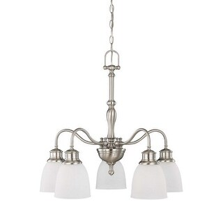 """Nuvo Lighting 60/2777 Bella 5 Light 24"""" Wide Chandelier with Frosted Linen Glass Shades"""