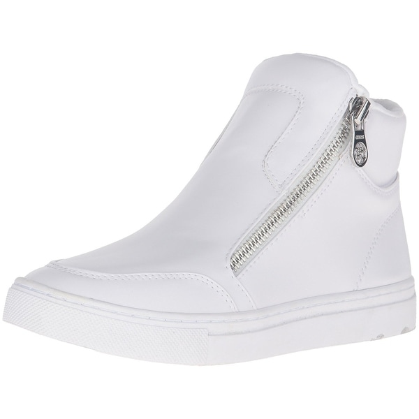Guess Womens Josian Leather Hight Top Zipper Fashion Sneakers