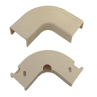 Offex 3/4 inch Surface Mount Cable Raceway, Ivory, Flat 90 Degree Elbow