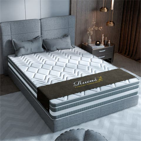"""13"""" Luxurious Plush Euro Top Gel Memory Foam Hybrid Mattress With Natural Latex And Individual Pocket Spring"""