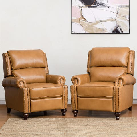 Gabriela Genuine Leather Recliner with Nail Head Trim Set of 2