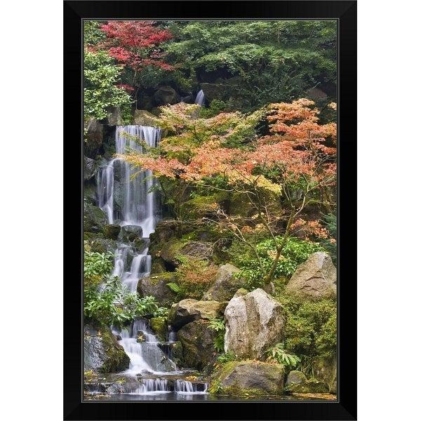 """USA, Oregon, Portland, Portland Japanese Garden, Waterfall in a garden"" Black Framed Print"