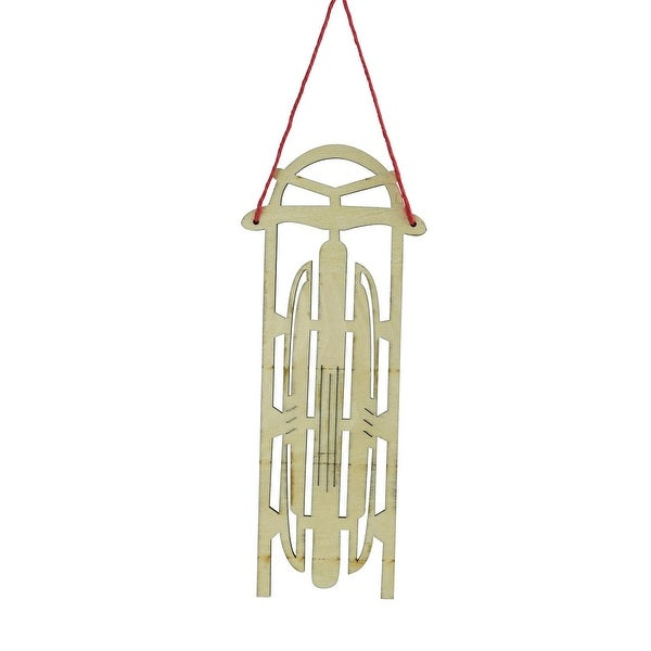 """7.5"""" Holiday Moments Old Fashioned Wooden Sled with Decorative Lines Christmas Ornament"""