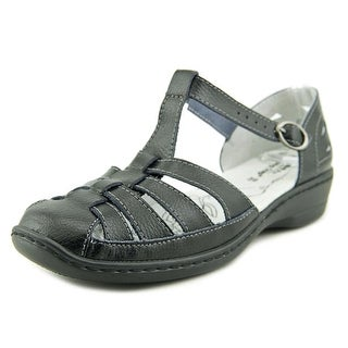 Spring Step Indus Women Round Toe Leather Black Fisherman Sandal