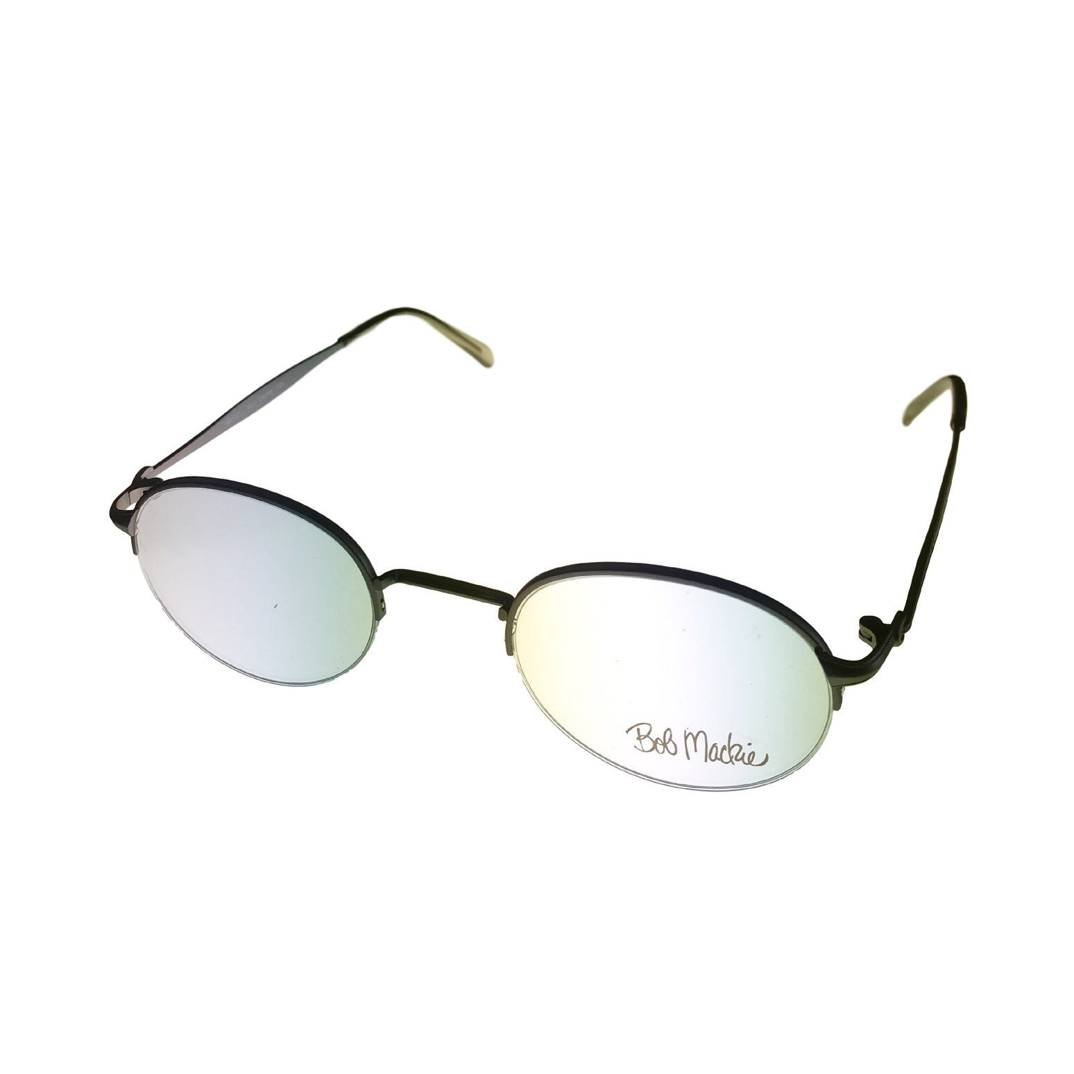 Bob Mackie Mens Opthalmic Eyeglass Rimless Round Metal Frame #854 Satin Taupe - Medium - Thumbnail 0