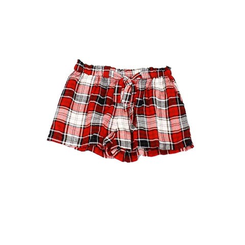 Angie Girl's Shorts Black Red Size Large L Plaid Tie-Waist 2-Pocket