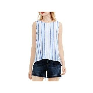Two by Vince Camuto Womens Summer Breeze Tank Top Linen Blend Striped