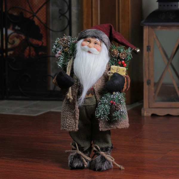"""16"""" Country Rustic Standing Santa Claus Christmas Figure with Present - brown"""