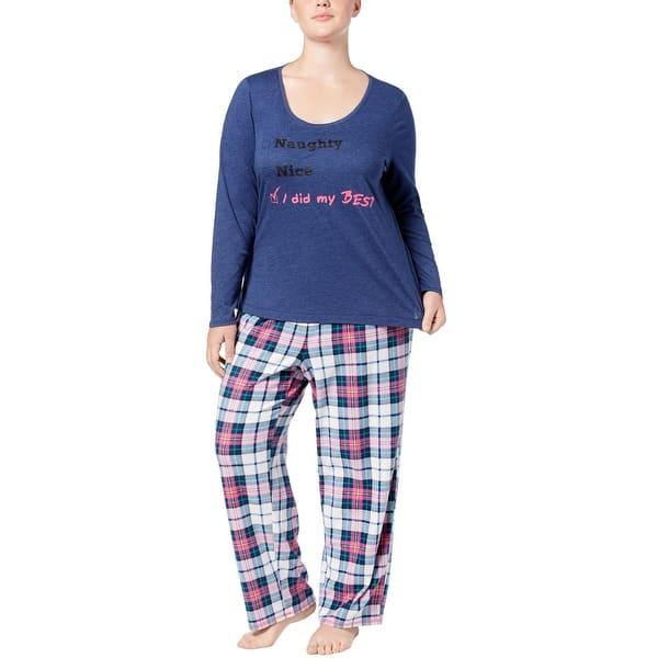 81443969038ec Jenni By Jennifer Moore Womens Plus Size Top   Pants Pajama Set 2X Alex  Plaid