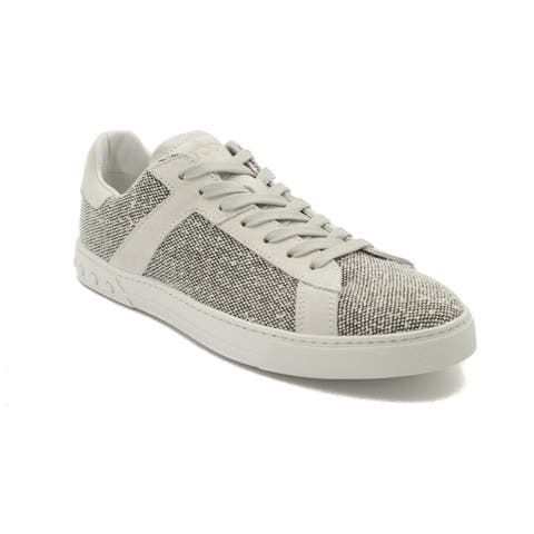 Tod's Men's Fabric Low Top Sneaker Shoes White/Grey