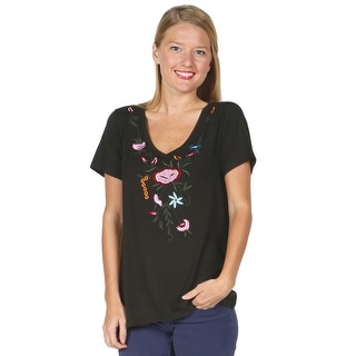 Women's Tunic T-Shirt - Hi-Lo Floral Embroidered Short Sleeve Top