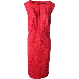 Tadashi Shoji Womens Sleeveless Lace Wear to Work Dress
