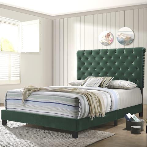 Modern Elegant Crystal Button Tufted Design Green Velvet Upholstered Bed