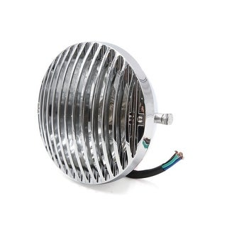 """Silver Tone Round Shaped 7"""" Finned Grill Motorcycle Headlight Head Lamp"""