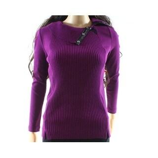 Rafaella NEW Purple Womens Size PXS Petite Ribbed Pullover Sweater