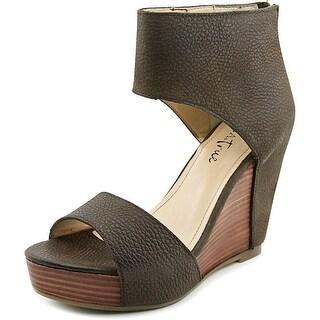 Diba True Shimmy Down Open Toe Leather Wedge Heel