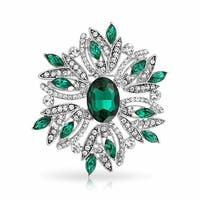 Bling Jewelry Holiday Wreath Pin Imitation Emerald Crystal Rhodium Plated