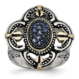 Chisel Stainless Steel Blue Glass with Yellow IP-plated Accent Antiqued Ring (26 mm)