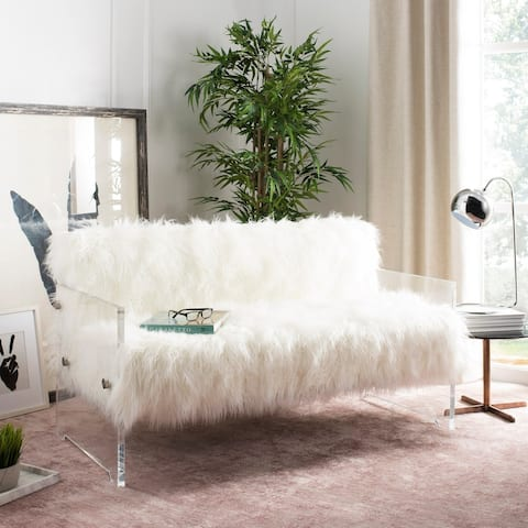 Safavieh Couture Sybel Sheepskin Lucite Settee - Clear / White - 27 in w x 21.25 in d x 30 in h