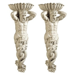 Atlantes, God Of The Sea Wall Sculpture: Set Of Two Design Toscano God Goddess