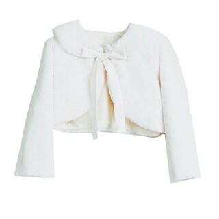Sweet Kids Baby Girls White Faux Fur Ribbon Long Sleeve Bolero Jacket