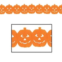 Club Pack of 12 Halloween Jack-O-Lantern Party Garland 12' - Orange