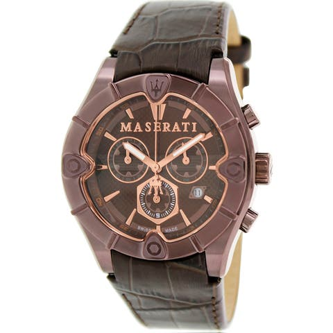 Maserati Men's Meccanica Brown Leather Swiss Chronograph Dress Watch