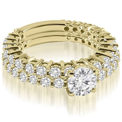 2.15 cttw. 14K Yellow Gold Classic Round Cut Basket Diamond Bridal Set